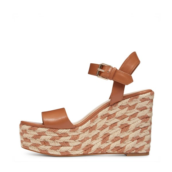 Tan Wedge Sandals Summer Platform Sandals for Women image 2