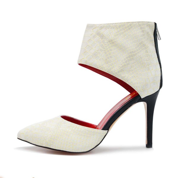 White Stiletto Boots Python Pointy Toe Cutout Ankle Booties image 2