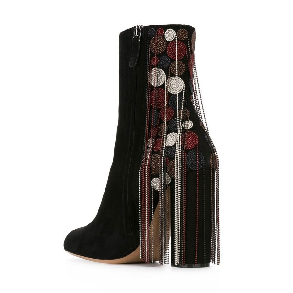 Black Fashion Boots Suede Chunky Heels with Bead Strings Fringe image 2