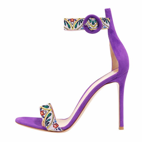 Women's Violet Floral  Stiletto Heel Ankle Strap Sandals  image 3