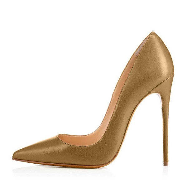 Dark Goldenrod Dress Shoes Stiletto Heels 4 Inches Pointy Toe Pumps image 2