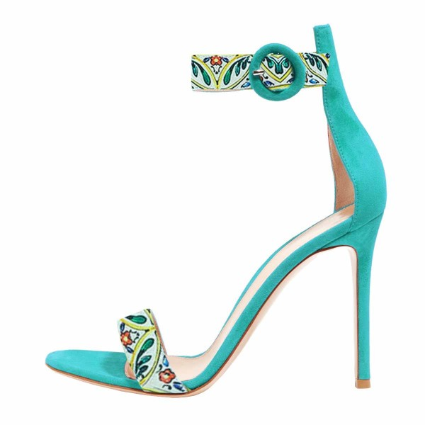 Women's Turquoise Floral Stiletto Heel Ankle Strap Sandals  image 2