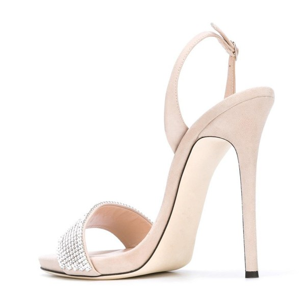 Women's Beige Dress Shoes Crystal Decorated Ankle Strap Stiletto Heels Sandals image 3
