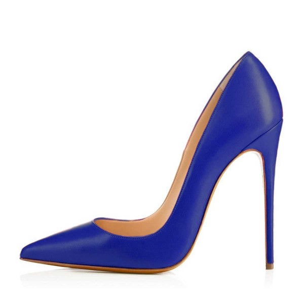 Cobalt Blue Shoes Office Heels Pointy Toe Stiletto Heel Pumps by FSJ image 2