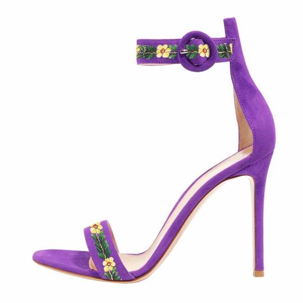Women's Purple Stiletto Heel Floral Ankle Strap Sandals  image 3