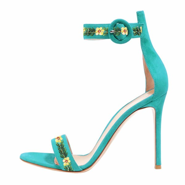 Women's Turquoise Stiletto Heel Floral Ankle Strap Sandals  image 2