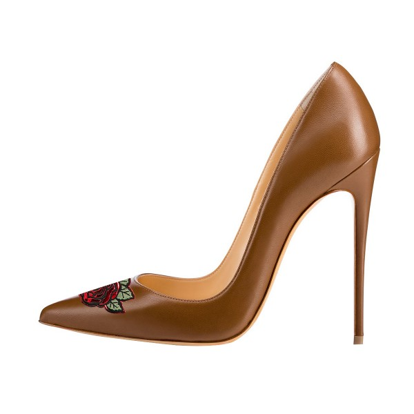 Women's Brown Stiletto Heels Floral Pointy Toe Stiletto Heels  Shoes image 3