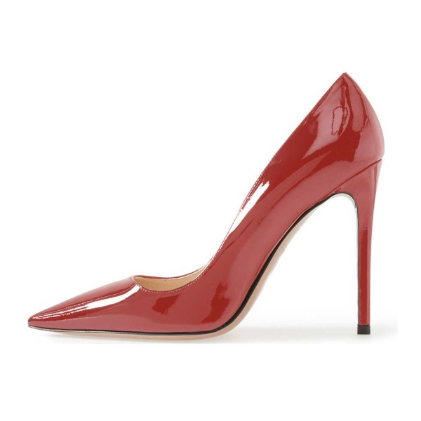 On Sale Red Office Heels Patent Leather Pointy Toe Stiletto Heel Pumps image 4
