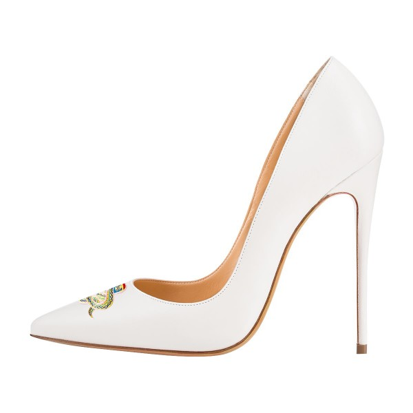 Women's White Stiletto Heels Pointy Toe 4 Inch Heels Pumps Wedding Shoes  image 2