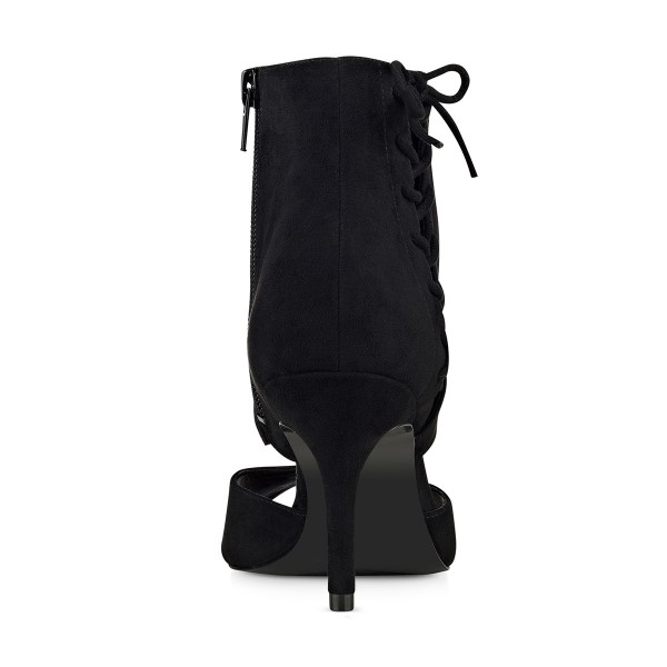 Black Summer Boots Peep Toe Cutout Kitten Heels image 3