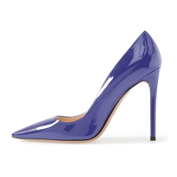Cobalt Blue Shoes Patent Leather Pointy Toe Pumps Office Heels  image 3