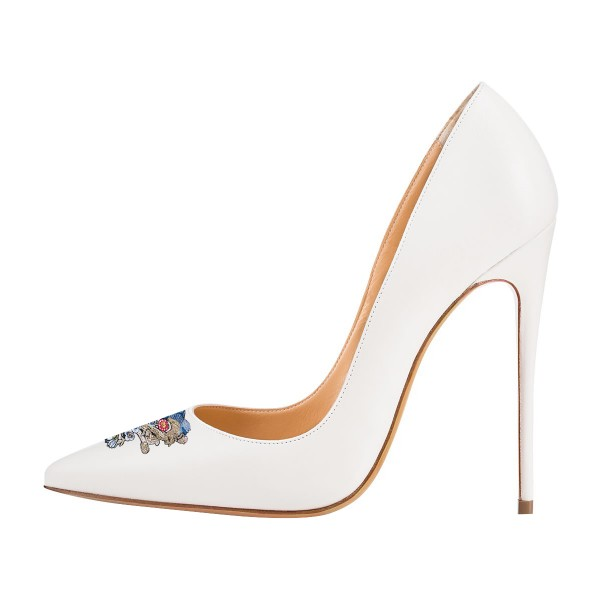 Women's White 4 Inch Heels Pointy Toe Pumps Stiletto Heels Bridal Shoes image 2