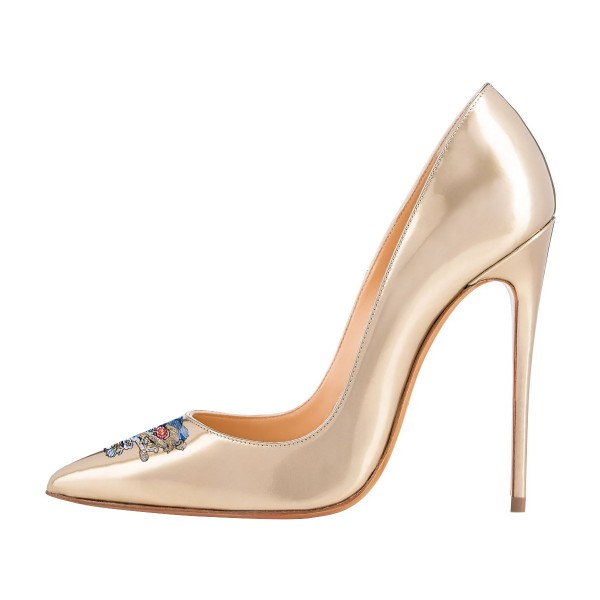 Women's Nude 4 Inch Heels Pointy Toe Pumps Stiletto Heels Shoes image 2