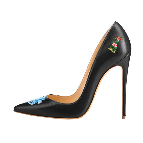 Women's Black Formal Printed Pointy Toe Pumps Stiletto Heels Shoes image 3