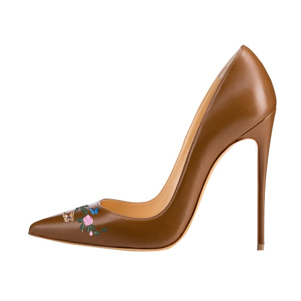Women's Brown Pointy Toe Stiletto Heels Pumps Dress Shoes  image 3