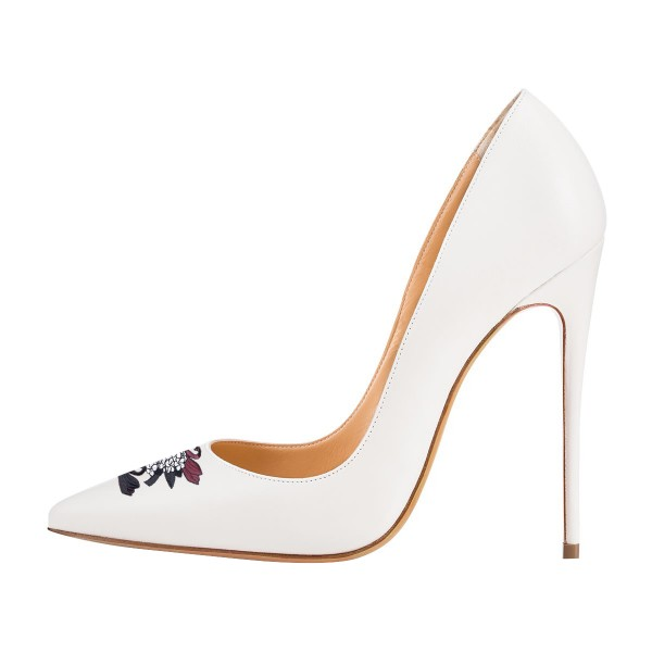 Women's White Office Heels Pointy Toe Stiletto Heels Pumps Wedding Shoes  image 3