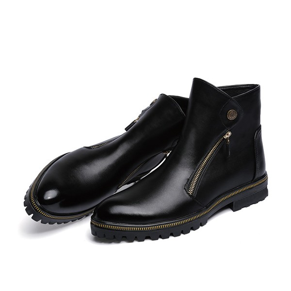 Women's Black Fashion Boots Zip Flat Ankle Boots  image 2