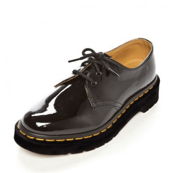 Women's Oxford Black Patent Leather Lace-up Chunky Heels Vintage Shoes image 1