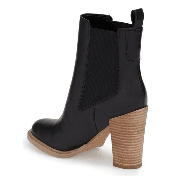 Black Vegan Leather Women's Dress Boots Chunky Heel Chelsea Boots image 2
