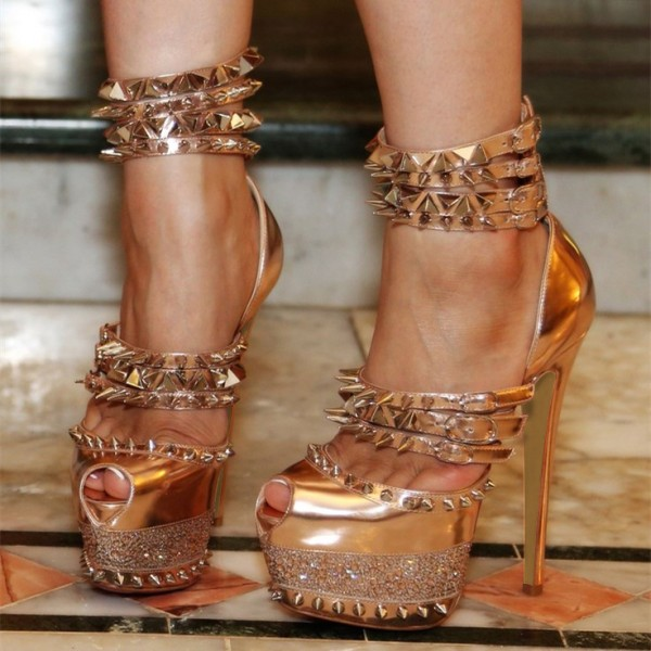 Gold Rivets Stripper Heels Metallic Peep Toe Platform Sexy Shoes image 1