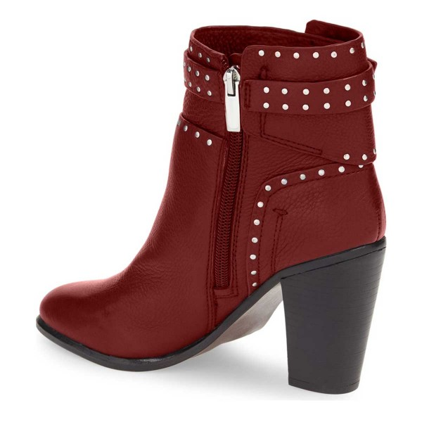 Women's Red Silver Studs Decorated Ankle Chunky Heel Boots image 2