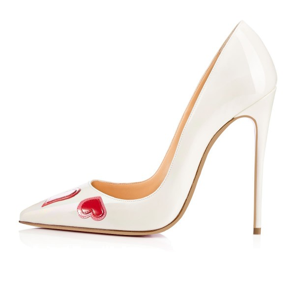 FSJ White Office Heels Patent Leather Pointy Toe Dressy Heart Pumps image 2