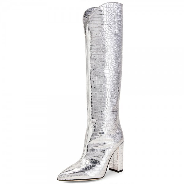 Silver Chunky Heel Boots Pointed Toe Knee High Boots image 1