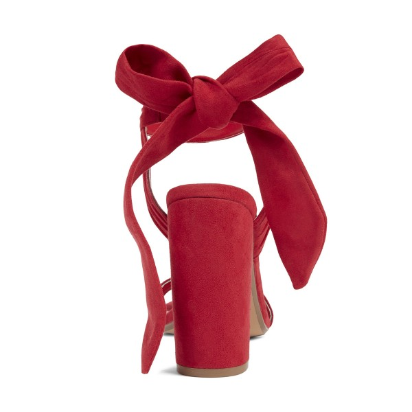 Coral Red Soft Suede Ankle Strappy Sandals image 3