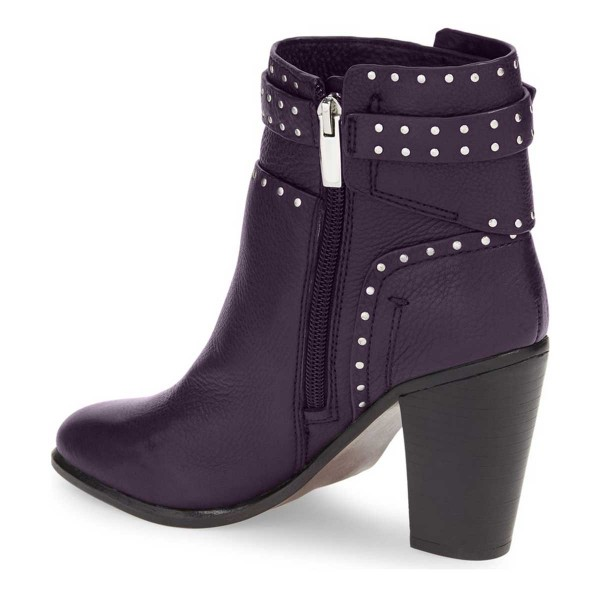 Women's Purple Chunky Heels Round Toe Rivets Studded Ankle Boots image 2