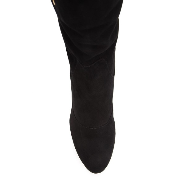 Black Chunky Heel Boots Suede Mid-calf Boots with Tassels image 3