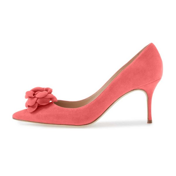 Pink Suede Shoes Pointy Toe Kitten Heel Pumps with Flower image 2