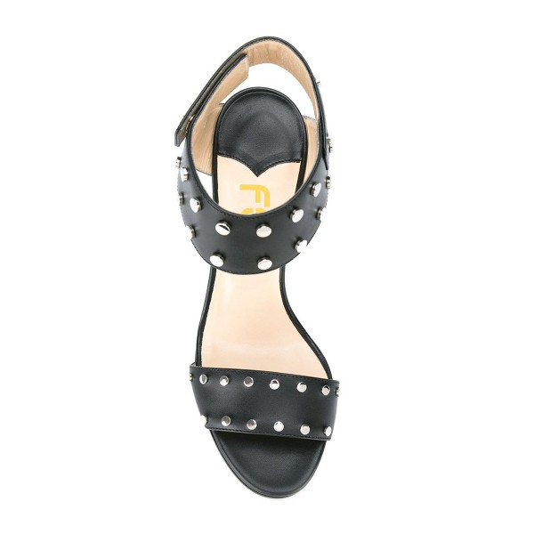 Black Studs Shoes Chunky Heel Ankle Strap Office Sandals image 2
