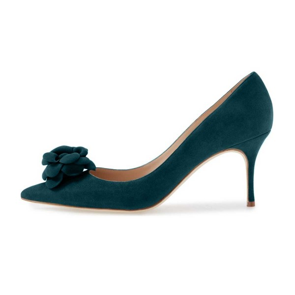 Teal Suede Shoes Pointy Toe Stiletto Heel Pumps with Flower image 3