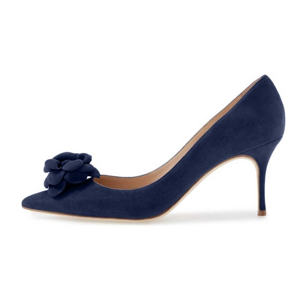 Navy Suede Shoes Kitten Heel Pointy Toe Flower Pumps for Women image 4