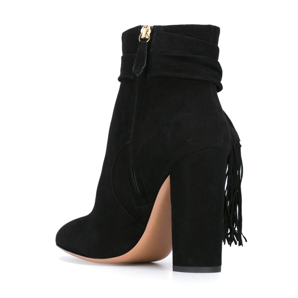 Black Chunky Heel Boots Suede Tassels Ankle Booties image 3