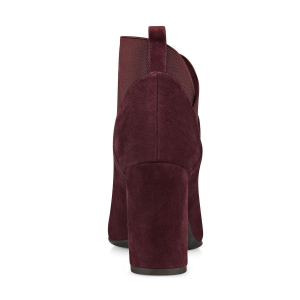 Womens' Burgundy Suede Chunky Heel Boots Ankle Work Boots image 3