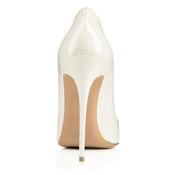 FSJ White Office Heels Patent Leather Pointy Toe Dressy Heart Pumps image 3