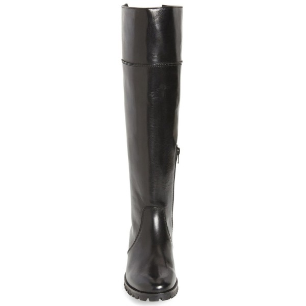 Black Fashion Boots Round Toe Flat Riding Boots image 3
