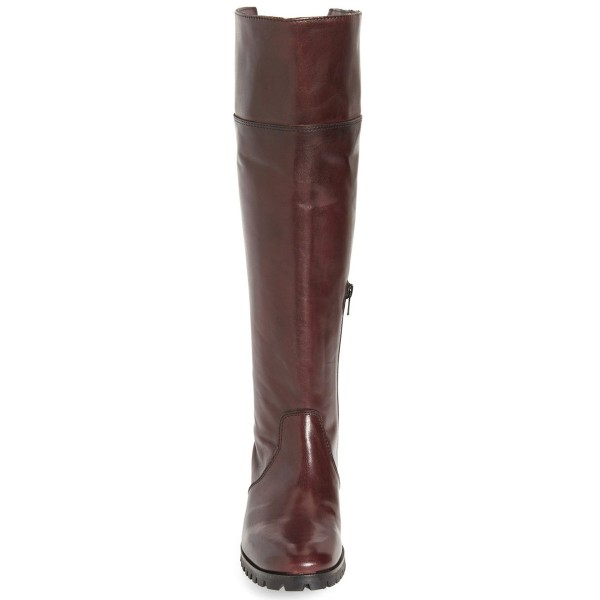 Dark Brown Fashion Boots Round Toe Flat Riding Boots image 3
