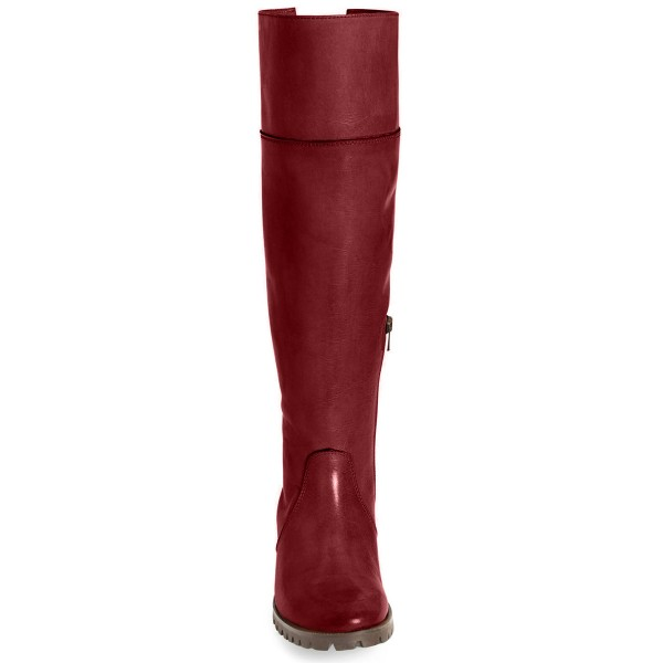 Burgundy Comfortable Shoes Round Toe Knee-high Boots  image 3