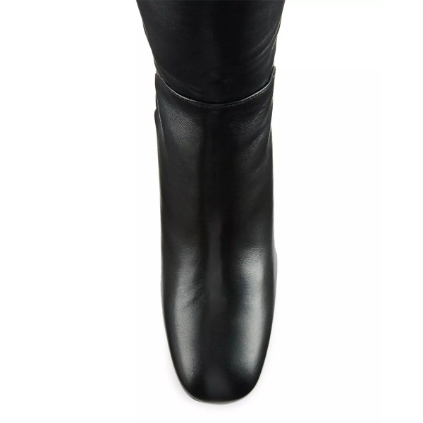 Black Over-the-Knee Long Boots Square Toe Block Heels Boots image 3