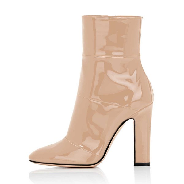 Women's Nude Patent-leather Ankle Short Chunky Heel Boots image 3