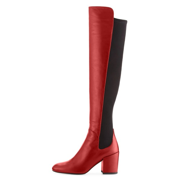 Red Square Toe Boots Block Heel Over-the-Knee Long Boots image 2