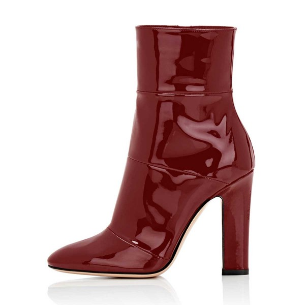Red Chunky Heel Boots Patent-leather Ankle Booties for Work image 4