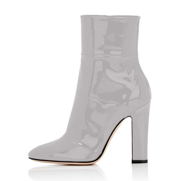 Women's Grey Patent-leather Chunky Heel Boots Short Ankle Booties ...
