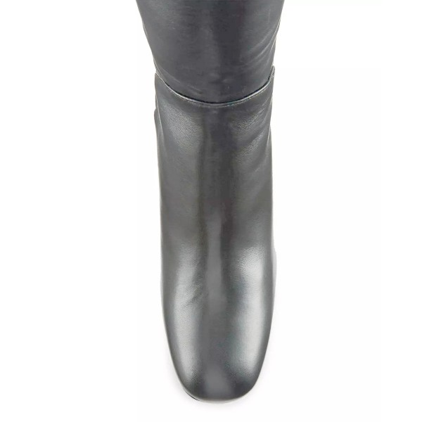 Dark Silver Long Boots Square Toe Over-the-knee Chunky Heels image 3