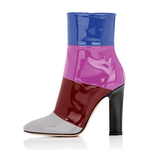 Multicolor Short Boots Patent Leather Chunky Heel Ankle Booties image 4