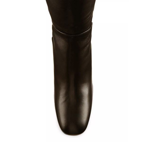Chocolate Chunky Heels Square Toe Over-the-Knee Boots for Women image 4