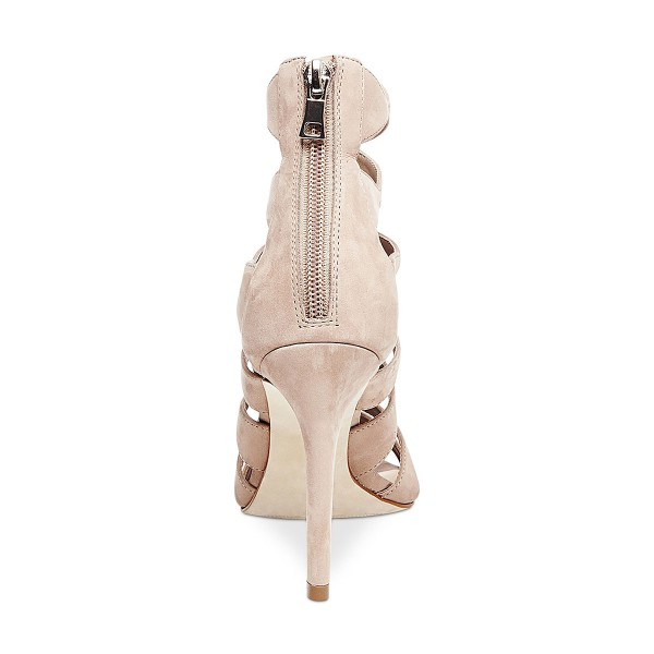 Women's Beige Suede Open Toe  Hollow-out Stiletto Heels Sandals image 2