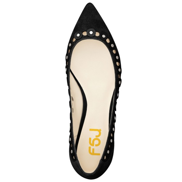 Black Studs Embellishment Hollow out Pointy Toe Comfortable Flats image 4